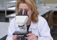 Looking through a microscope. Female researcher looking through a microscope in a laboratory Stock Photography