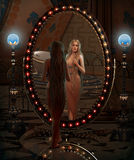 Looking in the Mirror, 3d CG royalty free illustration
