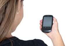 Looking mobile phone with clipping paths Royalty Free Stock Images