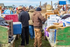 Looking for Mud Sale Bargains. Bart, PA, USA - March 3, 2018: The annual Mud Sale at the Bart Fire Company attracts a large crowd in search of late winter Royalty Free Stock Photo