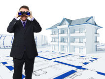 Looking for new house. Man with binoculars and 3d house background Stock Photo
