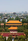 Looking north from Prospect Hill in Jingshan Park, Beijing. In the distance, the Drum Tower Royalty Free Stock Photo