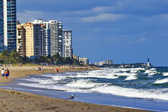 Looking north to Pompano Beach Florida. Florida's Atlantic ocean coast  is home to many beach cities such as Fort Lauderdale and Pompano Beach Royalty Free Stock Photos