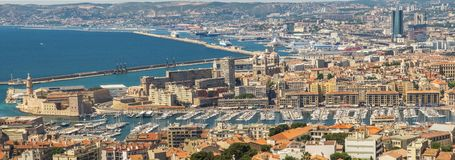 Panoramic view of Marseille,France,from the walls of Notre-Dame de la Garde royalty free stock images