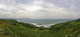 Looking at the Ocean. Scenic view downhill towards the ocean at Longpan Park, Taiwan royalty free stock image