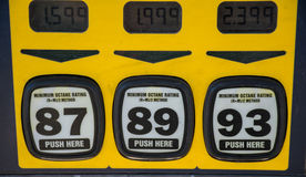 Looking at Octane at the Pump Gasoline prices rise and pollution at all time high Royalty Free Stock Images