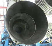 Looking into One of Five Engine Nozzles of Saturn V Rocket`s First Stage Stock Photo