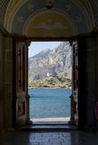 Looking through open door on the mountain. Stock Photography