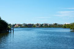 Looking out across bay to florida homes Stock Images