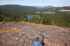 Looking out across forested valley near Victoria, BC, Canada Stock Photo