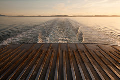 Looking out the back of a BC Ferries at sunset, BC Royalty Free Stock Photos