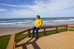 Looking out on the beach Oregon coast. Stock Photography