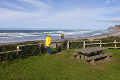 Looking out on the beach on the Oregon coast. Stock Photography