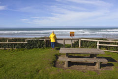 Looking out on the beach on the Oregon coast. Royalty Free Stock Photos