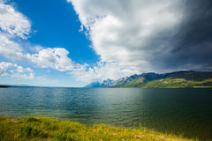 The Grand Teton looking out. Looking out the Grand Teton over a lake stock photo