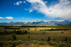 The Grand Teton looking out. Looking out the Grand Teton over meadow royalty free stock photos