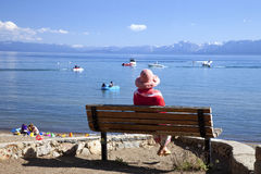 Looking out on the lake, Lake Tahoe CA. Stock Photos