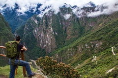 Looking out at the mountains from Machu Picchu. View of the mountains from Machu Picchu. Machu Picchu is a popular tourist attraction and one of the ancient royalty free stock images