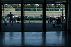 Looking out onto the horse track Stock Photos