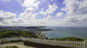 Aberystwyth Under Glorious Sun Shine. Looking out over Aberystwyth from the top of Constitution Hill on a glorious summers day in West Wales royalty free stock photo