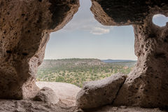 Looking Out Over Bandelier National Monument. From a small cave Stock Photos