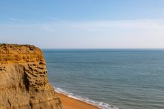 Whale Chine Beach on the Isle of Wight. Looking out over  cliffs to the ocean and Whale Chine Beach, on the Isle of Wight stock photo