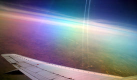 Looking out over plane wing Royalty Free Stock Photo
