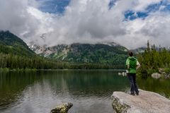 Looking Out Over Taggart Lake stock photos