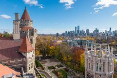 View of Toronto from Casa Loma. Looking out over the towers of Casa Loma toward the Toronto skyline in the distance stock image