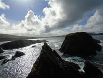 Looking out from St Ninian's Isle in Shetland. Looking out to sea from St Ninian's Isle on Shetland on a March day which had all the seasons in one day Stock Photo