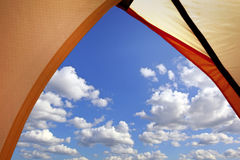 Looking out through the tent opening Royalty Free Stock Photography