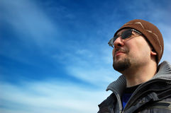 Looking out to the future. (man in the blue sky Stock Photo