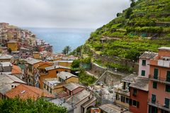 Looking out to ocean in Manarola royalty free stock images