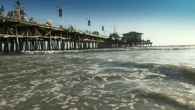 Low angle view at pier from beach stock video
