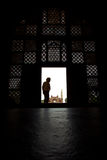 Looking out from Tomb of Akbar the Great Stock Photo
