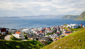 Looking out at the town of Honningsvag, Norway Royalty Free Stock Photos