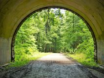 Looking Out of Tunnel on the Road to Nowhere. The tunnel at the end of the Road to Nowhere in Great Smoky Mountains National Park near Bryson City, North Royalty Free Stock Images