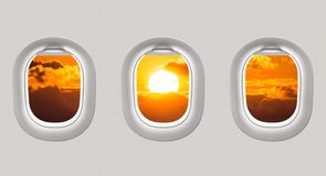 Looking out the windows of a plane to the Black sea and sunset Royalty Free Stock Image