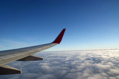 Looking out on wing of jetplane Royalty Free Stock Images