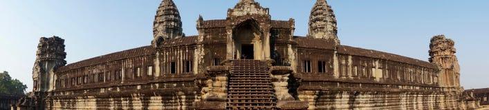 Panoramic view of Angkor Wat temple stock photo