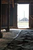 Looking outside through barracks door - Auschwitz Birkenau Stock Photo