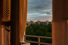 Looking outside at sunset royalty free stock photo