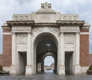 Looking outwards through the Menin Gate in Ypres, Belgium Royalty Free Stock Photography