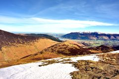 Looking over Barrow to Skiddaw. Early Spring on Skiddaw and Blencathra Royalty Free Stock Photos