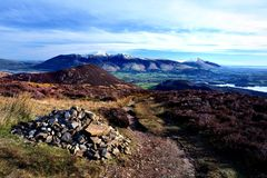Looking over Barrow to Skiddaw. Early Spring on Skiddaw and Blencathra Stock Images