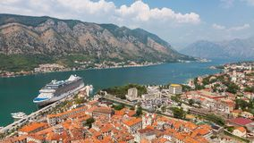 Looking over the Bay of Kotor in Montenegro stock video footage