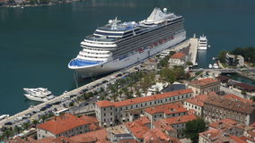Looking over the Bay of Kotor in Montenegro stock footage