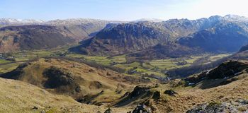 Looking over the borrowdale valley Stock Images