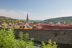 Looking over the city wall of Rottingen Royalty Free Stock Images