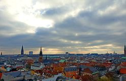 Copenhagen city overview from above. Looking over Copenhagen from a tower stock photos